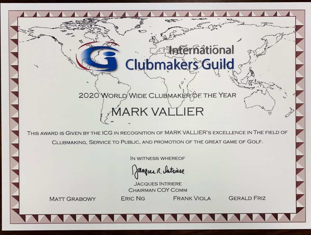 Mark Vallier named 2020 World Wide Clubmaker of the Year by International Clubmaker Guild